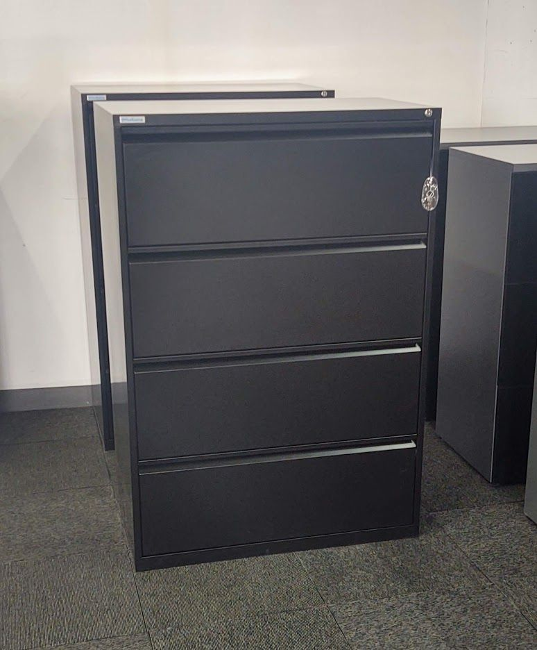 """OfficeSource 4H 36""""W Lateral File (Black)"""