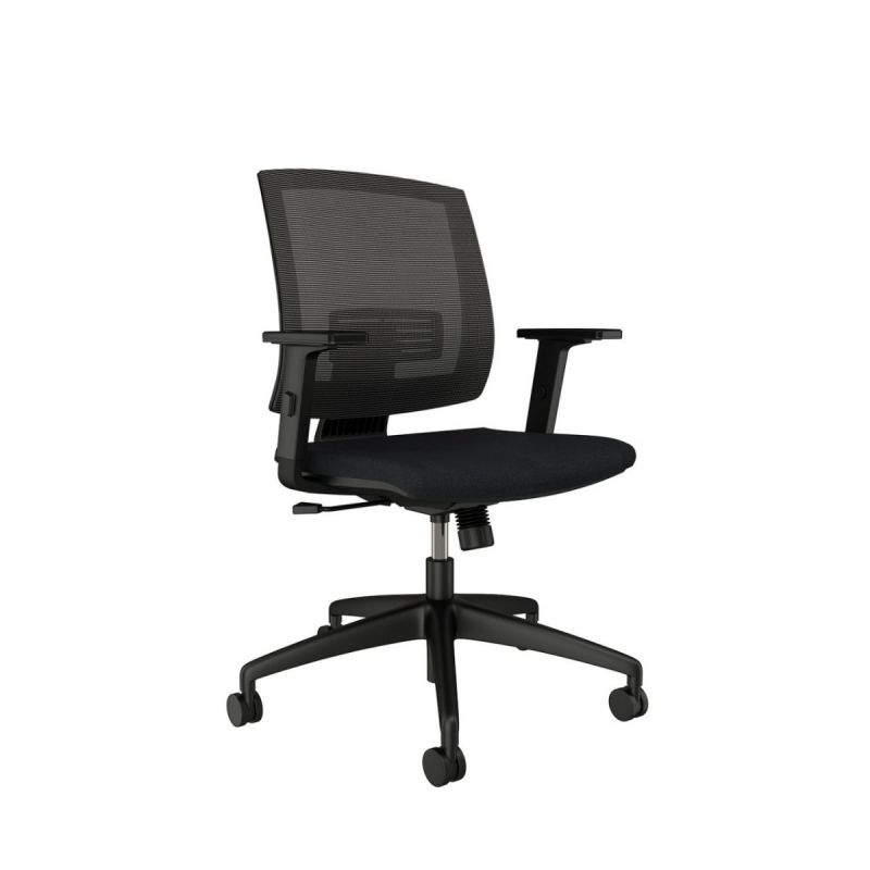 AIS Granite Mid Back Black Task Chair