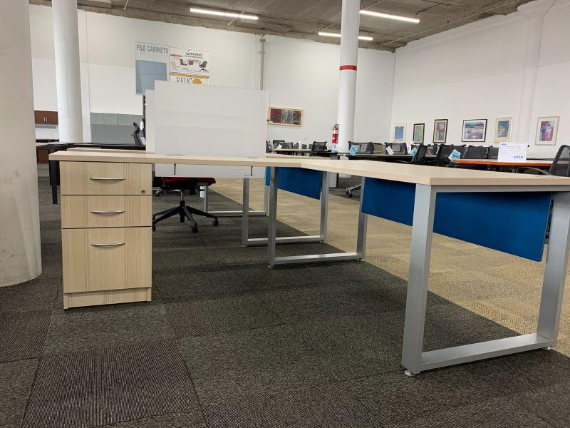 Tayco L-Shaped Desk (Light Oak Laminate)