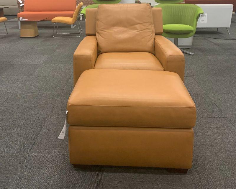 American Leather Reclining Lounge Chair + Ottoman (Orange)