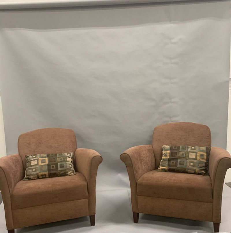 Pair of Cabot Wrenn Lounge Chairs w/ Pillow (Brown)