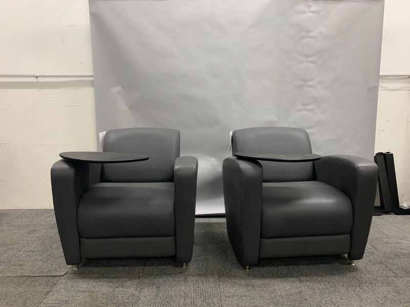 pair of grey lounge chairs