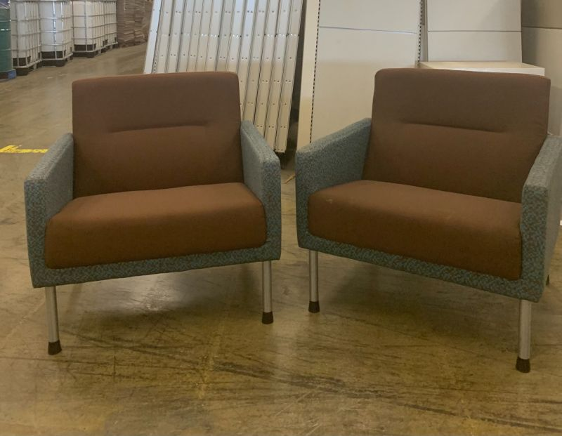 Pair of Brayton Lounge Chairs (Brown/Blue Checkers)