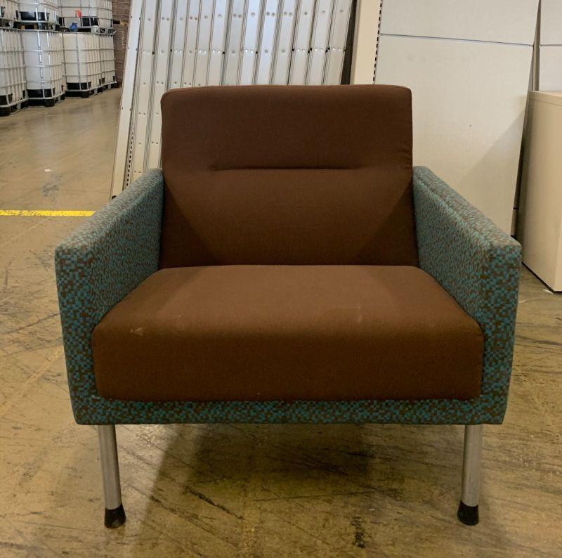 Brayton Lounge Chair (Brown/Blue Checkers)