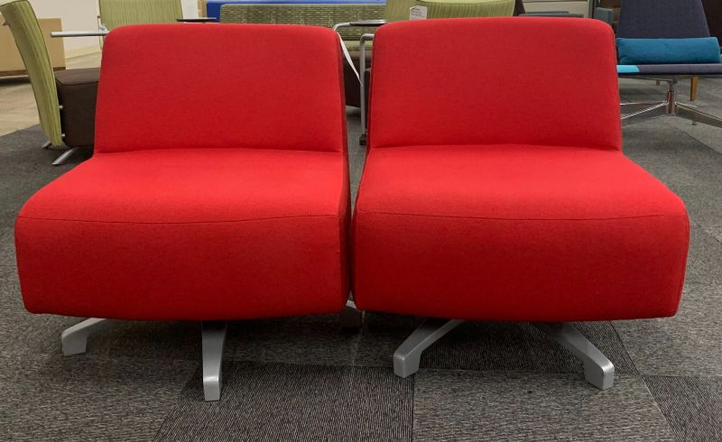 Pair of Armless Swivel Base Lounge Chairs (Red)