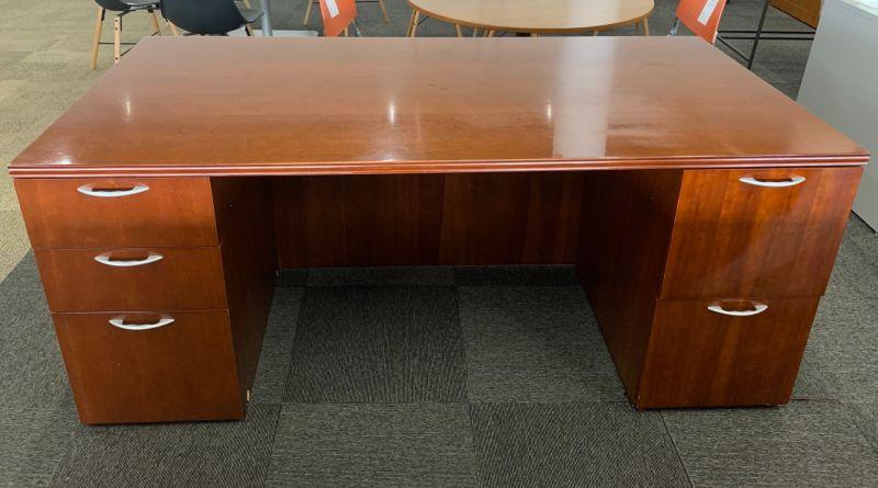 OFS Double Pedestal Desk + Credenza  (Cherry)