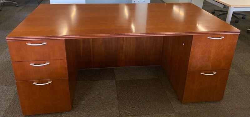 OFS Double Pedestal Desk (Cherry)