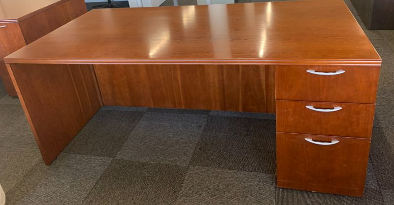 OFS Freestanding Desk + Credenza Set (Cherry) RH