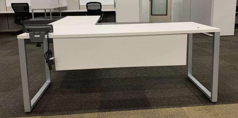 Allsteel U-Shaped Desk w/ Credenza (White/Slate) RH