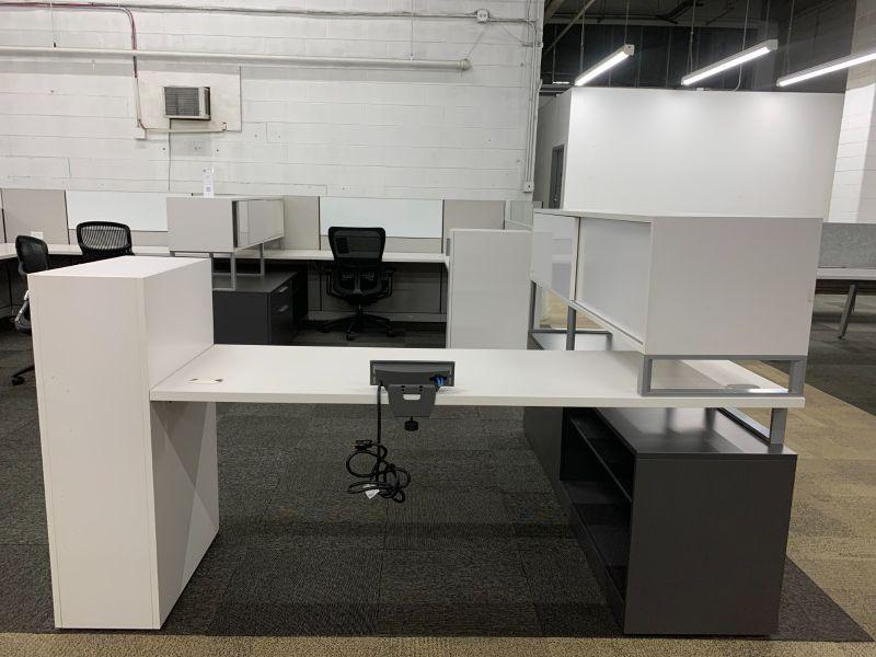 Allsteel L-Shaped Desk w/ Credenza + Hutch (White/Slate) LH