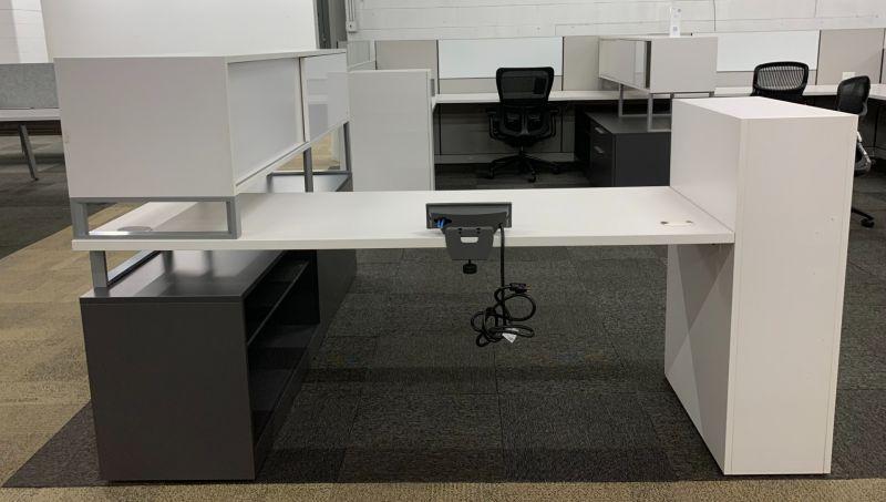 Allsteel L-Shaped Desk w/ Credenza + Hutch (White/Slate) RH
