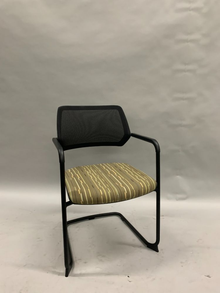 Steelcase Qivi Sled-Base Side Chair (Black Mesh/Tan Rectangles)