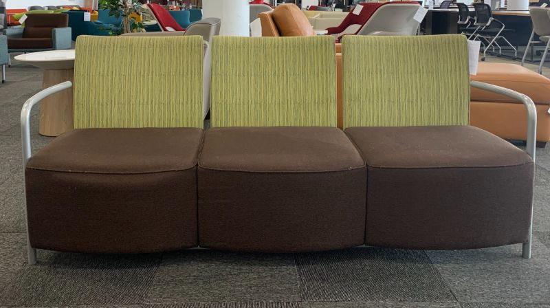 6' Herman Miller Celeste Sofa (Green Lines/Dark Violet)