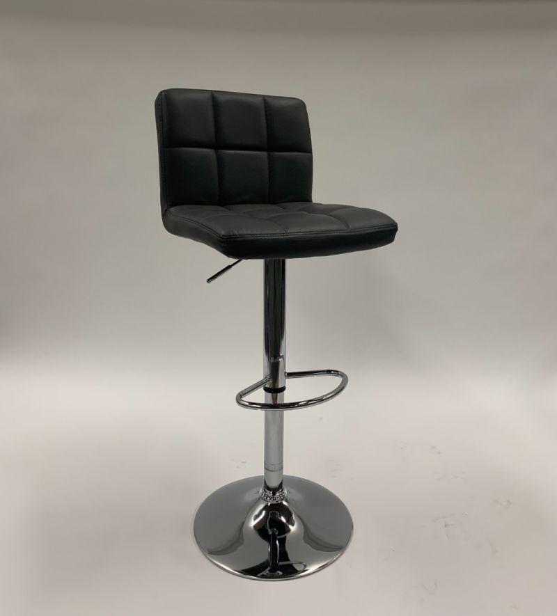 Adjustable-Height Stool (Grey Leatherette)