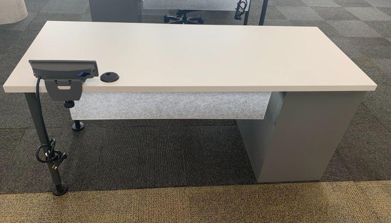 Steelcase Desk (White/Grey) Non-Handed