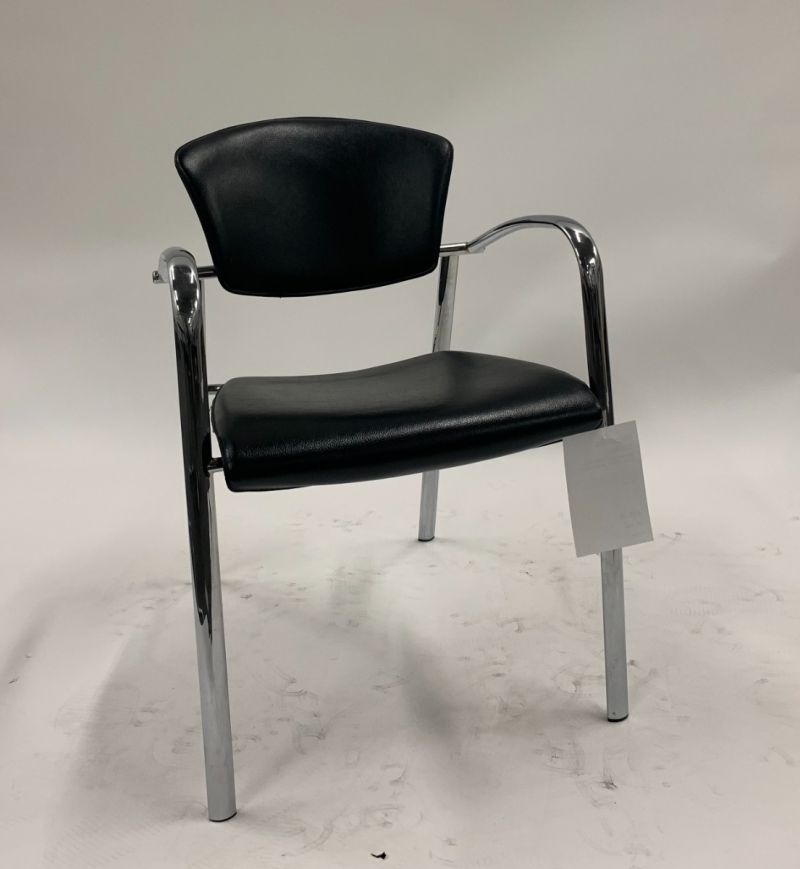 Brayton Sled-Base Side Chair (Black Leatherette)