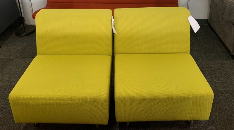 Pair of Coalesse Bix Lounge Chairs (Lime Green)