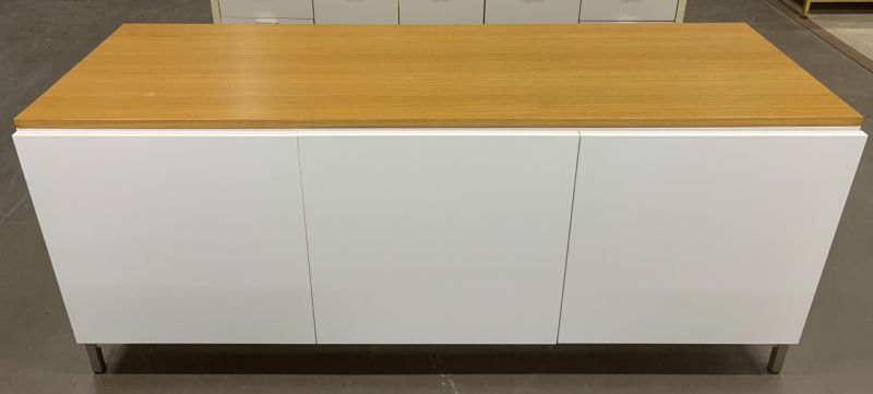 "74""W Maple Top Storage Cabinet (White)"