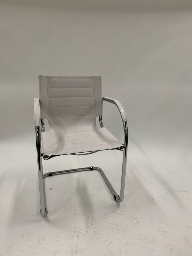Safco Flaunt Guest Bistro Chair (White Leather)