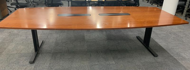 10' Boat-Shaped Conference Table (Cherry Veneer) 54 x 120