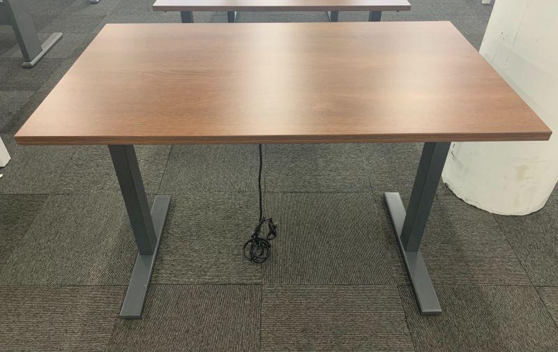4' Poppin Adjustable-Height Table Desk (Cherry Laminate)