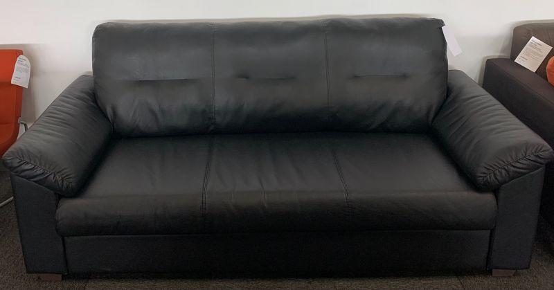 """80"""" Ikea Sofa (Black Leatherette)"""