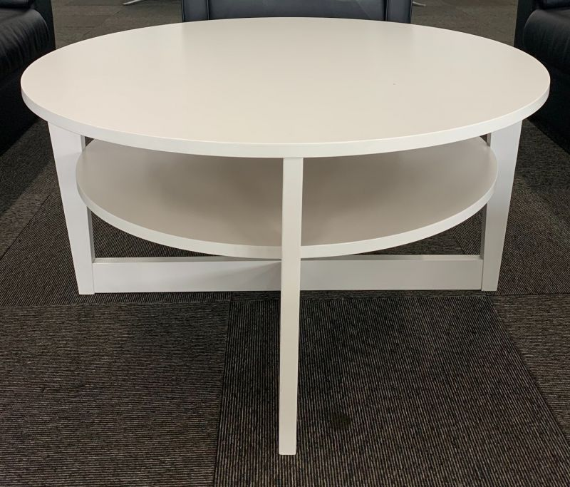 3' Round Two-Tier Coffee Table (White)