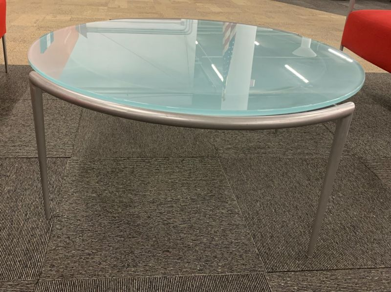 3' Round Coffee Table (Green Frosted Glass)