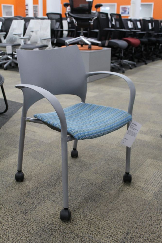 Keilhauer Loon Mobile Side Chair (Grey/Aqua)
