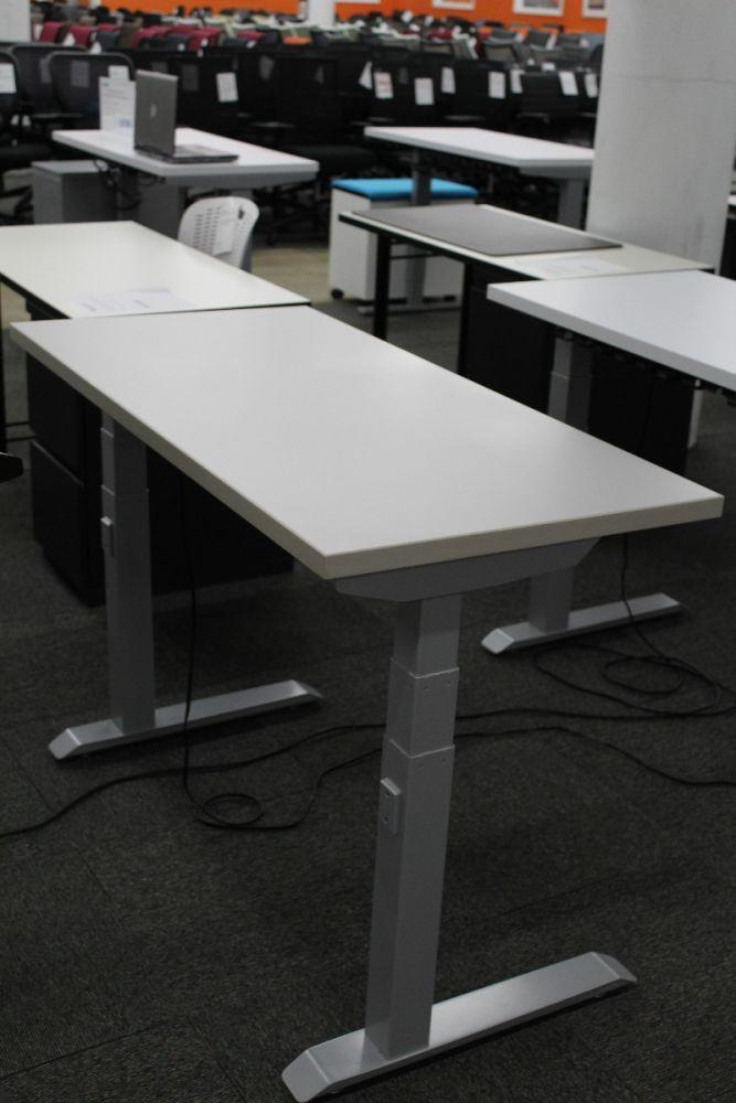 4' Compel  Rectangular Adjustable-Height Table Desk (Light Grey)