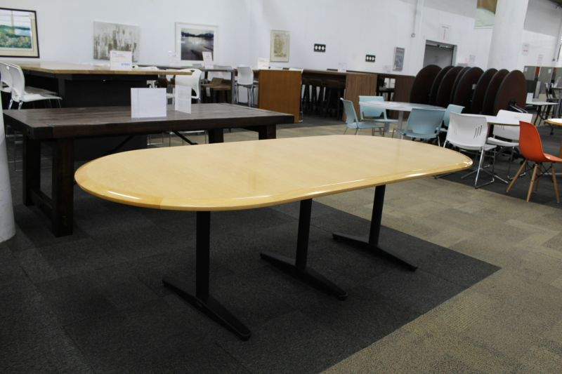 8' Racetrack Conference Table (Maple Veneer)