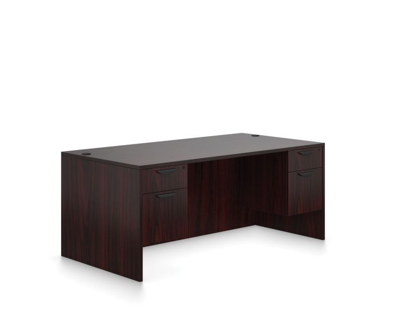 "Offices to Go 66""W Rectangular Double Short Ped Desk (American Mahogany)"