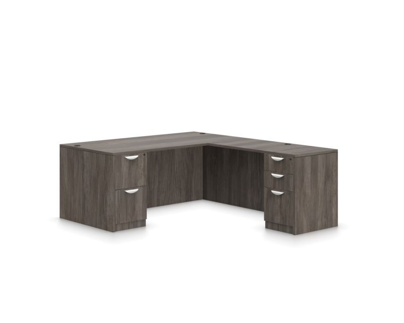 L-Shaped Double Full Ped Desk