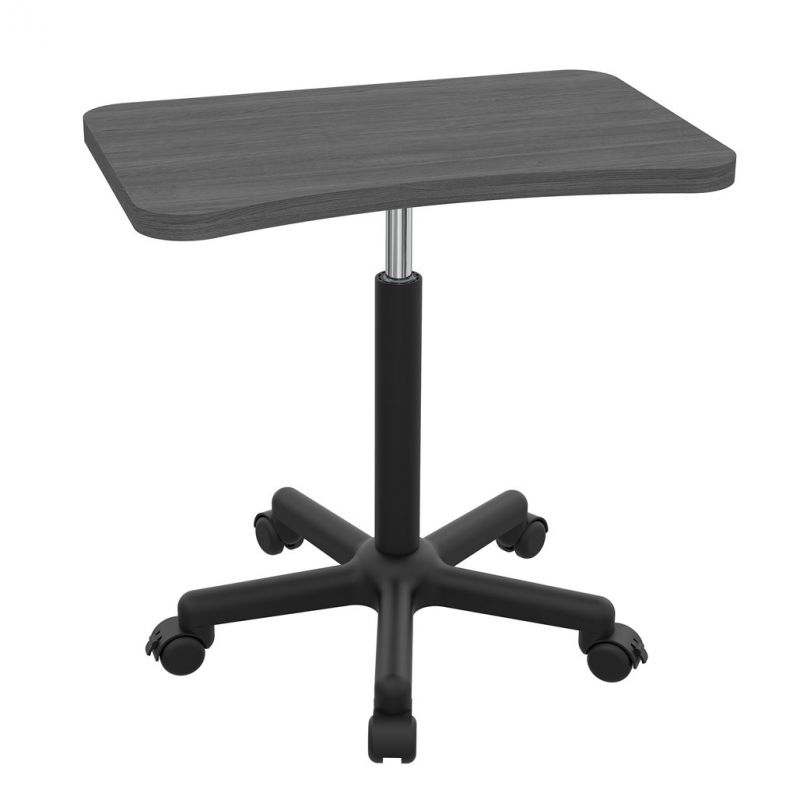 OfficeSource Any Space WFH Collection Sit or Stand, Adjustable Height Laptop Table with Black Base and Casters