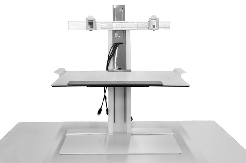 Pre-owned Humanscale freestanding workstation unit has white finish and dual-monitor arms.