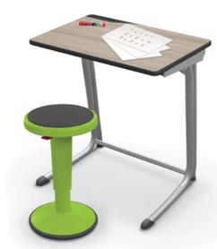 Mooreco New Student Desk with Rocking Stool Bundle