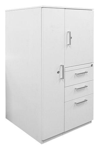 Wardrobe-Cupboard Tower with BBF Storage, Chalk White