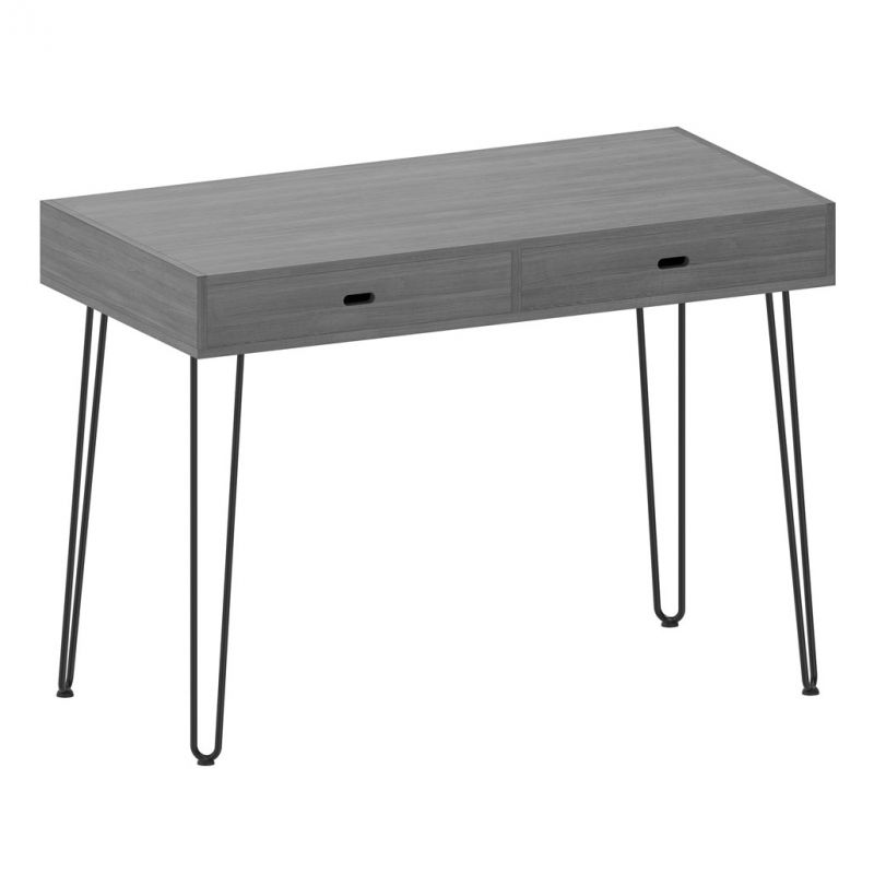 OfficeSource Any Space WFH Collection Writing Desk with Two Drawers and Black Hairpin Legs (48″W x 24″D x 30″H)