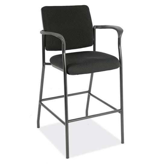 Office Source Sleek Stool Collection: Fabric Guest Stool with Arms and Black Frame