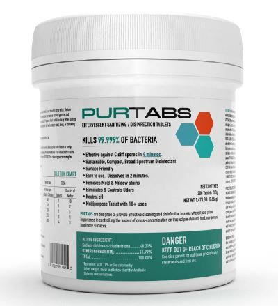 Purtab Effervescent Sanitizing / Disinfection Tablets (ESPT3.3G)