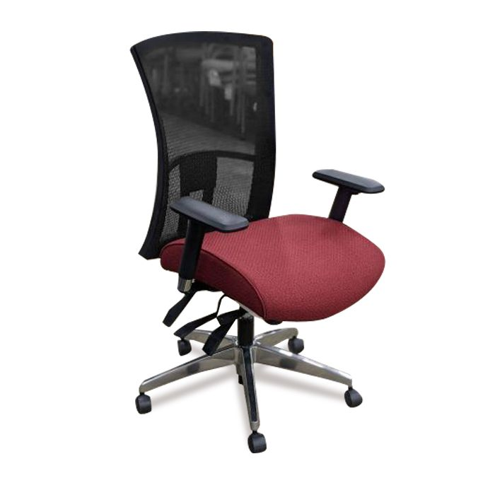 Global Vion Task Chair (Red Patterned/Black Mesh)