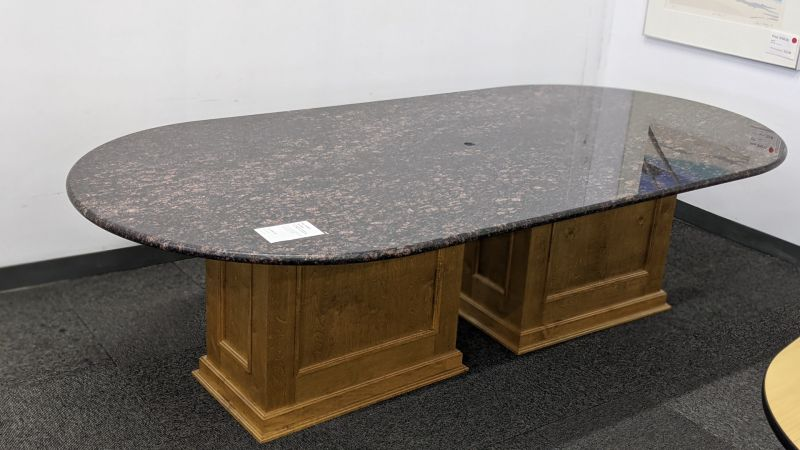 9' Racetrack Conference Table (Black and Light Red Granite)