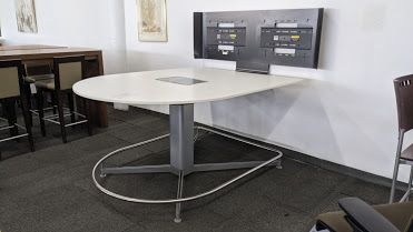5' Steelcase D-Shaped Media Table w/ Monitors (White Laminate)