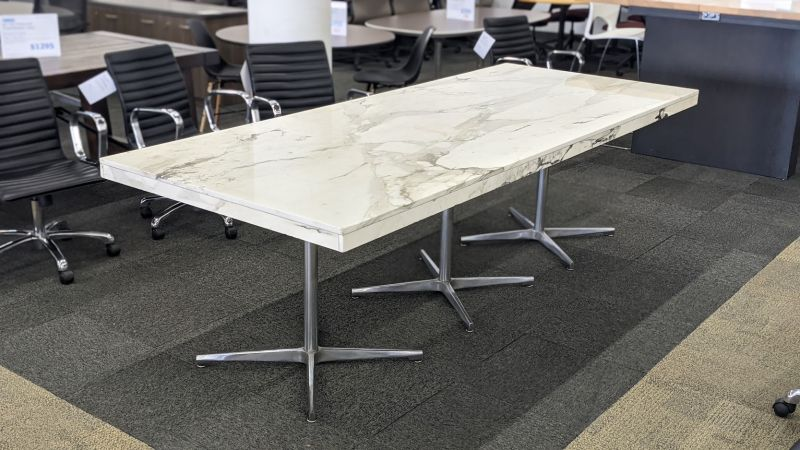 8.5' Rectangular Conference Table (White Marble)