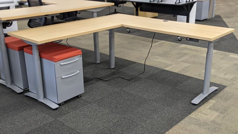 Refreshed Height Adjustable L-Shaped Desk