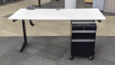 5' Teknion Rectangular Table Desk w/ Ped  (White)