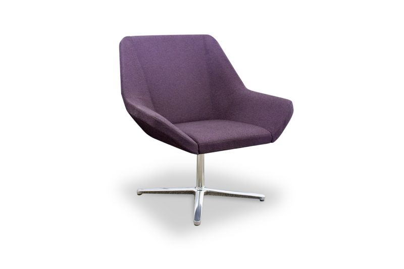Pre-owned Keilhauer Cahoots lounge chair has purple upholstery and a chrome X-base.