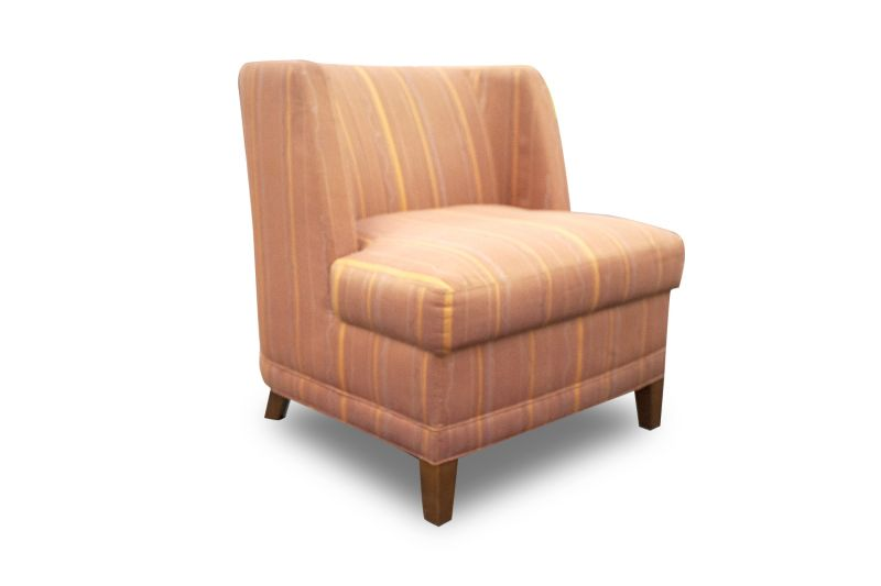 Pre-owned Brayton lounge chair has orange striped upholstery and (4) cherry feet.