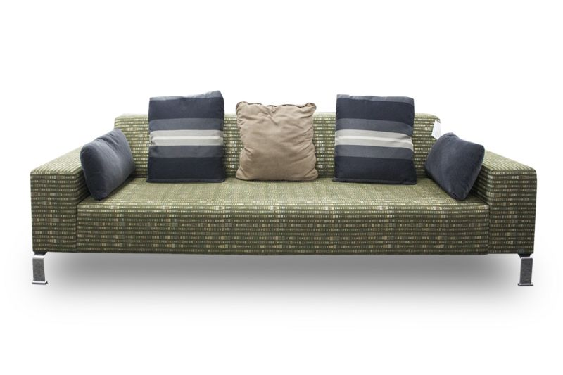 Pre-owned Nienkamper sofa has green square patterned upholstery with (4) chrome feet.