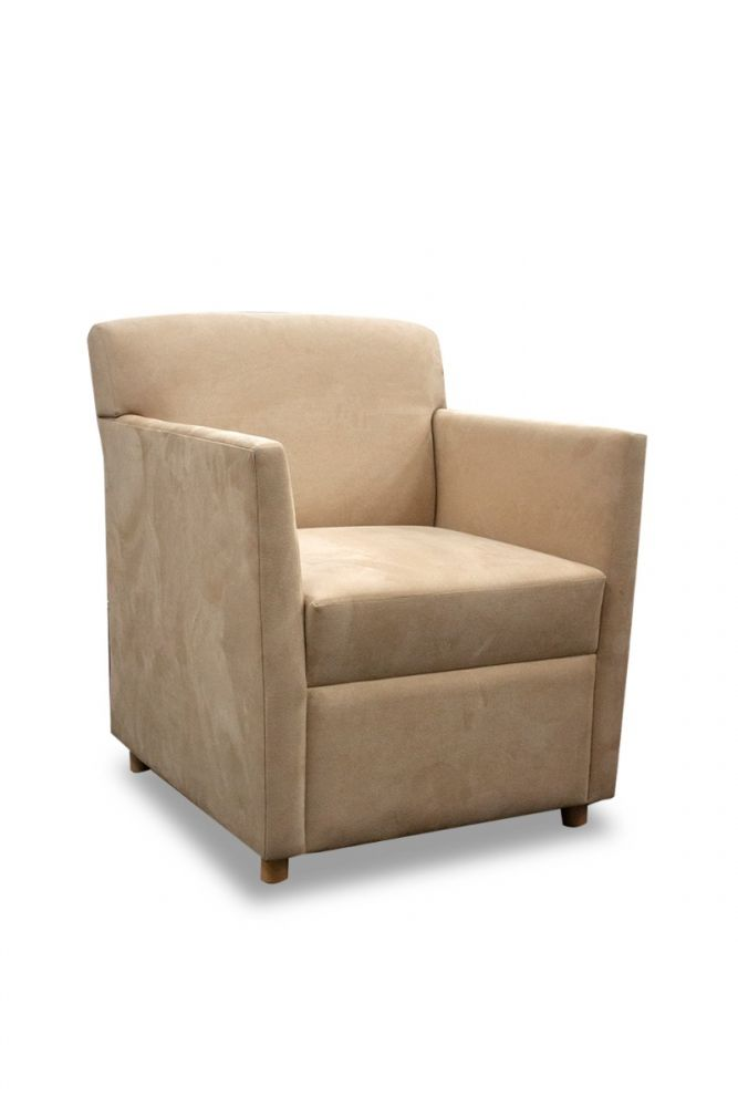 Pre-owned Martin Brattrud lounge chair has cream suede upholstery with (4) maple feet.